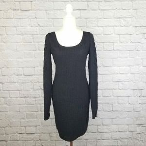 BCBG black textured scoop neck long sleeve dress